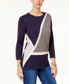 Alfred Dunner Colorblocked Tunic Sweater - Blue XL