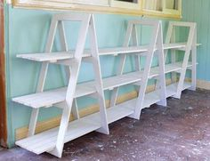 DIY Trestle Shelving Unit - I need to do this for WoolyHands - I need need a new Farmer's Market display. Stall Display, Craft Booth Displays, Display Shelves, Display Ideas, Craft Booths, Cat Shelves, Farmers Market Display, Market Displays, Store Displays