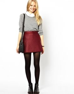{ASOS A-Line Quilted Skirt in Red}