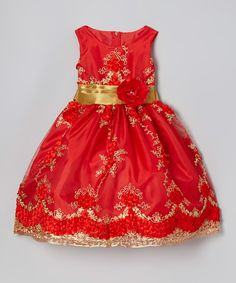 Take a look at this Bright Red & Gold Embroidered Dress - Infant, Toddler & Girls by Kid Fashion on #zulily today!