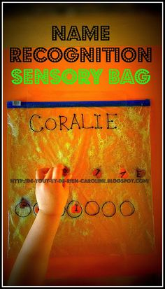 Everything and nothing: Activities for Preschool: Name recognition sensory bag - Bag Touch to learn to recognize his name