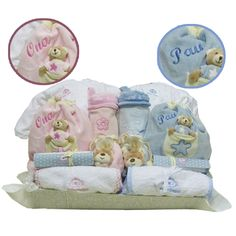 CANASTILLA BÁSICA GEMELOS PERSONALIZADA. Cestas para gemelos, mellizos, trillizos. Canastillas para bebés y recién nacidos.