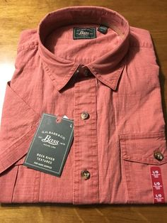 G.H. Bass & Co. Tandoori Spice Men's Red Short Sleeve Shirt Size Large NWT $50 #Bass