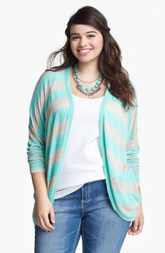 Stripe Cardigan #plus #size ~~ For more:  - ✯ http://www.pinterest.com/PinFantasy/moda-~-plus-size-fashion-tallas-grandes/