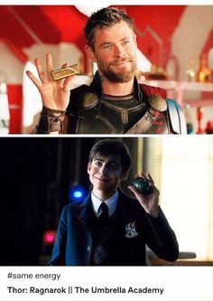 Five and Thor parallels - Five and Thor parallels the umbrella academy five aidan gallagher marvel thor the umbrella academ - Thor, Marvel Jokes, Marvel Funny, Loki Funny, Styles Stilinski, Marvel Dc, Fandom Crossover, Under My Umbrella, Hemsworth