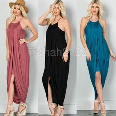 New hi low Drape ruched long maxi dress sexy skirt ❌PLEASE DON'T BUY THIS LISTING, COMMENT ON SIZE NEEDED FOR SEPARATE LISTING. PRICE IS FIRM UNLESS BUNDLED❌.  New retails.... Hi low Drape ruched maxi  with layered shirt underneath. Racer back, spaghetti straps.ruched neckline and drape sides. Very comfy and super sexy. Fabric content 95% Rayon and 5% spandex ...Available in black and teal. Small medium and large. Boutique Dresses Maxi