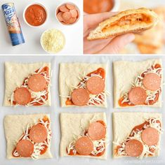 Homemade Easy Cheesy Pizza Pockets These easy cheesy homemade pizza pockets are SO EASY and they taste amazing! You can load them with your favourite pizza toppings and in less than 20 minutes you have a fun, delicious and kid friendly meal! Snacks Für Party, Lunch Snacks, Cold Lunches, Kid Snacks, Homemade Pizza Pockets, Homemade Pizza Bites, Dinners For Kids, Easy Kids Meals, Fun Meals For Kids