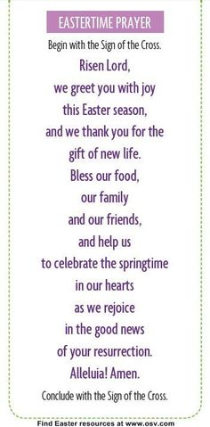 catholic easter prayer meal - Yahoo Image Search Results Easter traditions 999 Unable to process request at this time -- error 999 Easter Poems, Easter Prayers, Easter Devotions, Easter Sayings, Dinner Prayer, Sunday Prayer, Food Prayer, Meal Prayer, Mealtime Prayers
