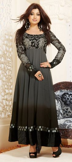 412142 Black and Grey  color family Bollywood Salwar Kameez in Viscose fabric with Border,Machine Embroidery,Valvet work .
