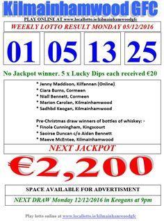 Kilmainhamwood GFC Lotto & News Next Jackpot Tickets www.ie/kilmainhamwoodgfc Lotto Draw, Jackpot Winners, Pre Christmas, Play Online, Fundraising, Chicago Usa, News, Dip, Mary