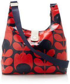 Orla Kiely Laminated Midi Sling Cross Body Bag Red/Blue �