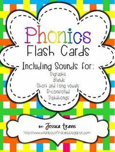Phonics Flash Cards {Blends, Digraphs, Vowels, & More!}