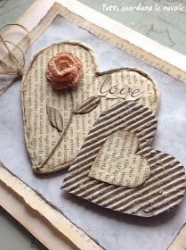 diy heart ♥ lovely Source by thisthatmarketEveryone looks at the clouds: Tickets Valentine's Dayclose-up view of handmade card . vintage/shabby chic look created with upcyclecle materials .A treasury of the best, most heart-warming Valentine's Day Valentines Bricolage, Valentine Day Crafts, Valentine Decorations, Heart Decorations, Christmas Decorations, Diy Design, Modern Design, Book Page Crafts, Diy Papier
