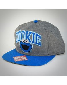 91f927697b3 Cookie Monster Arched Word Snapback Hat Flat Bill Hats