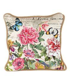 Peony Square Cotton Throw Pillow #zulilyfinds
