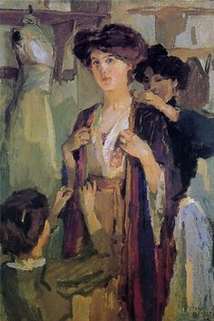 "Israels Isaac Essayeuse ""Visit to the milliner"""