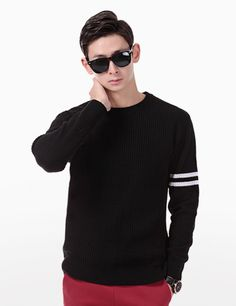Fuse comfort and style with this two-stripe sleeve knit sweater. Ideally teamed with black chino pants and a pair of black quilted slip-on sneakers. - Crew neck - Long sleeves - Allover knit finish - Two-stripe sleeve accent - Colors: Black, Gray, Ivory