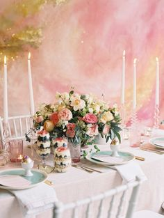 Pretty pastel table florals: http://www.stylemepretty.com/living/2016/03/22/host-the-best-ever-easter-brunch-with-this-watercolor-backdrop/ | Photography: Lisa Ziesing for Abby Jiu - http://www.abbyjiu.com/