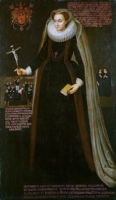 Mary, Queen of Scots in captivity, holding her crucifix. On the left shows her beheading.