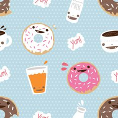 Yummy donuts fabric by Milktooth on Spoonflower