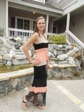 Peach and Black Striped Lace Dress. Underlining included!! $62.00