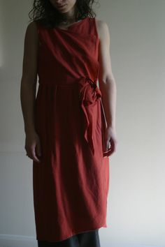 Wrap Linen terracotta dress