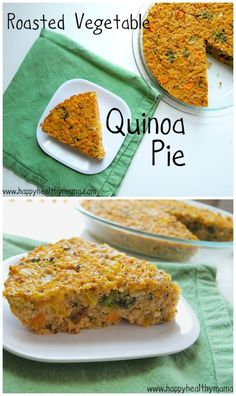 This roasted vegetable quinoa pie is a delicious gluten-free and dairy-free recipe.  It's also super easy and healthy, making it a great weeknight meal!