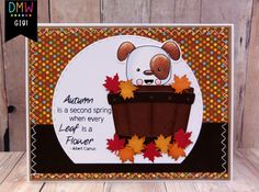 This is GiGi from The Cricut Bug and I am sharing this cute card I made using the V-Day Puppy digital stamp. Cricut Cards, Fall Cards, Treat Bags, Digital Stamps, Holidays Halloween, Cute Cards, Invitations, Invite, My World