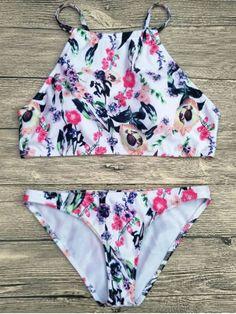 Floral Printed Spaghetti Strap Bikini Set - WHITE S Mobile