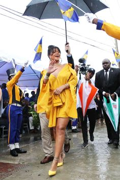 Rihanna at the opening ceremony of Rihanna Drive in Barbados