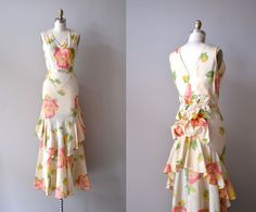 1930s dress / floral 30s dress / bustle / Nymphaea dress. $268.00, via Etsy.