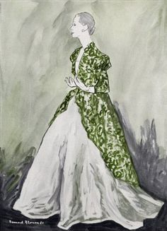 Illustration by Bernard Blossac, 1951, Balenciaga.