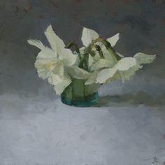 'Daffodils Fallen from Heaven' Oil on Linen 25 x 25 cm. by Helen Simmonds