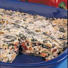 Four-Cheese Spinach Lasagna.   This is a really good meatless dish.   (I skip the red peppers)