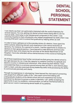 Help with Dental School Personal Statement