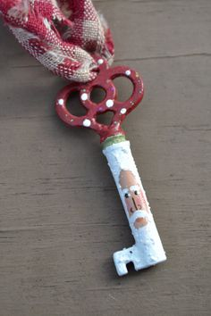 Hand Painted Santa Skeleton Key Ornament by coriekline on Etsy, $8.00