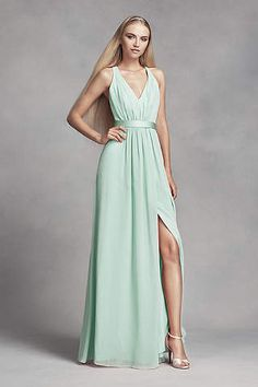 V Neck Halter Gown with Sash Style VW360214   Bridesmaid dress     Bridesmaids aqua White by Vera Wang LONG CHIFFON DRESS WITH LOW CRISSCROSS  BACK VW360310 in Mint