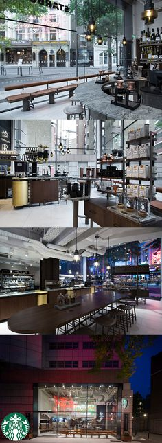 Inspired by the Starbucks Reserve Roastery and Tasting Room in Seattle, this store in London's Covent Garden immerses customers in a world of coffee and food. The space itself is kept raw, with natural materials rich in texture, and comfortable mid-tones. Cafe Bistro, Cafe Bar, Cafe Restaurant, Coffee Store, Coffee Cafe, Restaurant Interior Design, Cafe Interior, Starbucks Store, Starbucks Reserve