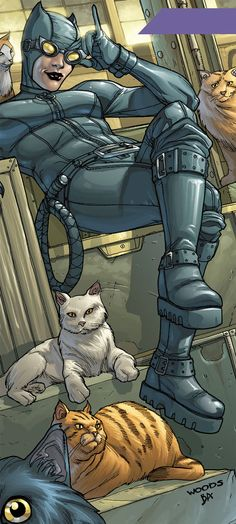 Catwoman (DC Comics) and a few cats. From http://www.writeups.org/catwoman-batman-dc-comics-selina-kyle/