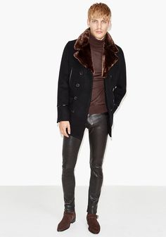 Today's Look: Leather Trousers. Photo: The Kooples. #ootd #menswear #mensfashion #mensstyle #instafashion #shearling #leathertrousers #rollneck