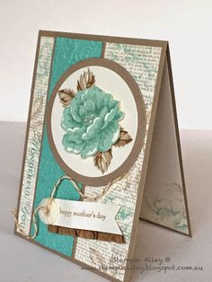 Stampin Alley - Stippled Blossoms for Mothers Day using Stampin Up Stippled Blossoms and Dictionary stamps designed by Leonie. Mother Card, Mothers Day Cards, Mom Cards, Healing Hugs, Wrapping Paper Crafts, Birthday Cards For Women, Sympathy Cards, Greeting Cards, Stamping Up Cards