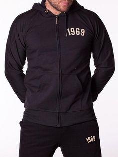 Trening pentru barbati 1969 - negru Motorcycle Jacket, Adidas Jacket, Sport, Interior Design, Jackets, Fashion, Nest Design, Down Jackets, Moda