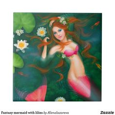 Ceramic tile Fantasy mermaid with lilies tile