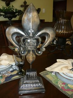 Fleur de Lis Finial with Crown center. Old World, Medieval, French Country, Tuscan Home Decor. The Finial was hand made and hand finished.