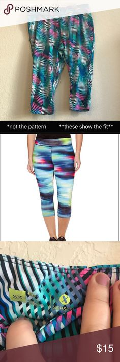 Plus Size Xersion Workout Capris Leggings Xersion Jersey Workout Capris. 3X Plus Size. I love the bright colors and these are so stretchy and comfortable.  Only worn a few times. Xersion Pants Leggings