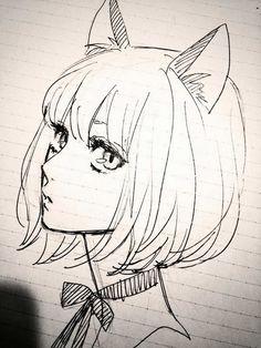 Anime drawings of girls amazing anime drawings and manga faces bored art anime cat ears manga . anime drawings of girls Anime Sketch, Drawing Sketches, Art Sketches, Gato Anime, Anime Cat, Manga Anime, Art Manga, Manga Drawing, Art Drawings Beautiful