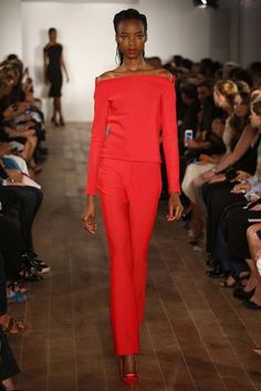 Zac Posen Spring 2015. Another pop of red. Love! #womens #fashion #style