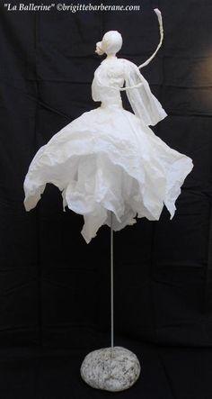 La Ballerine - Sculpture ©2012 par Brigitte Barberane - Sculpture, Papier, Papier, ballerine Plus
