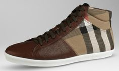 best sneakers c8ad6 1e4ec Burberry-Check-Cotton-Leather-Sneakers Burberry Mens Shoes, Mens Fashion  Shoes