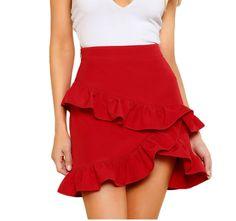 Elegant Plain Sheath High Waist Red Above Knee/Short Length Asymmetric Layered Ruffle Skirt Source by daydaychic Skirts Red Skirts, Short Skirts, Skirt Fashion, Fashion Outfits, Fashion News, Womens Fashion, Asymmetrical Skirt, Ruffle Skirt, Frilly Skirt